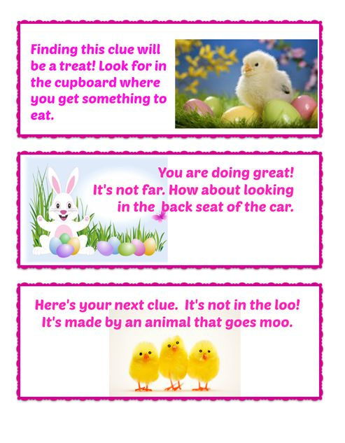 Easter Egg Hunt Clues 1