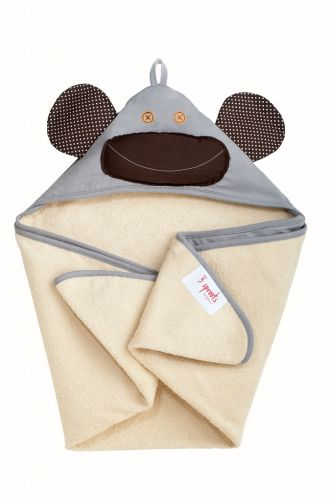 3 Sprouts - Hooded Towel -  Monkey (Grey)