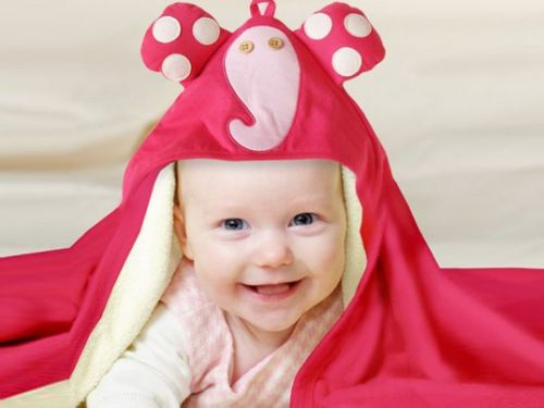 3 Sprouts - Hooded Towel -  Elephant (Pink)