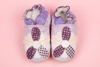 Woddlers  Soft Sole Shoe - 5 Leaf Spotty Flower Purple  (sizes 18 months to 3 years)