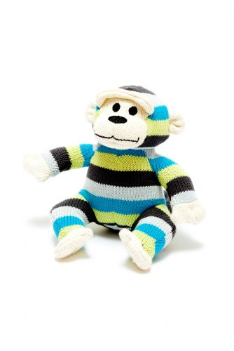 Organic Knit Monkey w/Rattle Stripey Blue and Green Limited Edition
