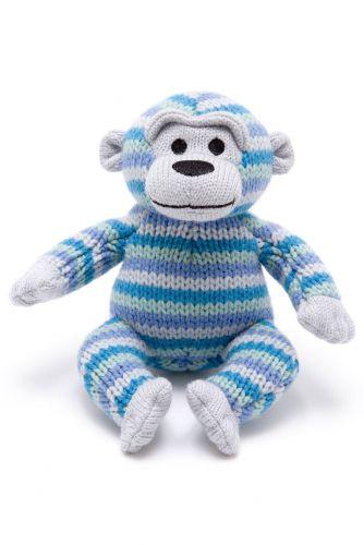Knitted Monkey W/Rattle - Blue