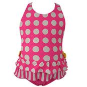 Cupid Girl Dot and Frill One Piece Swimmers (Size 00 to 2)