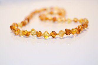 Baltic Amber Teething Necklace - Polished Barock Lemonade and Cognac