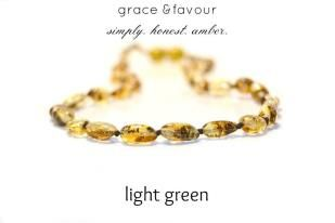 Baltic Amber Teething Necklace - Polished Light Green