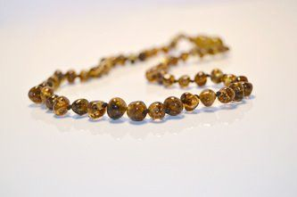Baltic Amber Teething Necklace - Polished Green