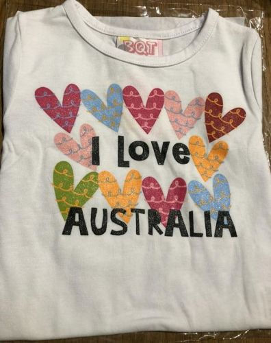 I Love  Australia-Coloured Hearts Tee (Sizes 0-2)