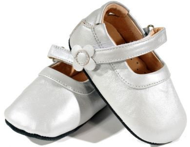 SKEANIE Mary Janes - Leather Soft Sole Baby Shoes - Silver (only small left)