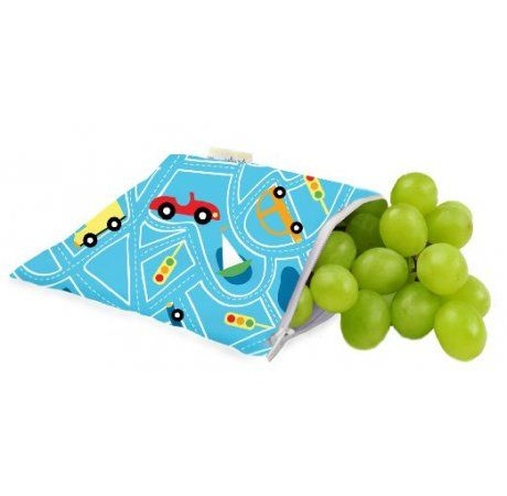 Itzy Ritzy Snack Happened Reusable Snack & Everything Bag - Limited Edition Transporatation Blue