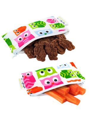 Itzy Ritzy Mini Snack Happens - Wrap Free School Lunches - MIni Snack Bag Set  - Hoot