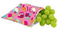 Itzy Ritzy Snack Happens Reusable Snack & Everything Bag - Limited Edition Owls Pink