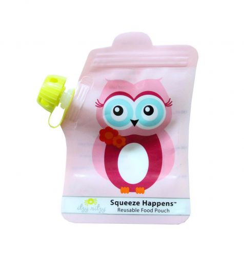 Squeeze Happens Reusable Food Pouch Set - Owl