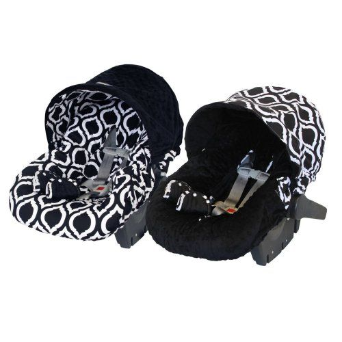 Itzy Ritzy - Baby Ritzy Rider Infant Car Seat Cover -Moroccan Nights & Black Minky