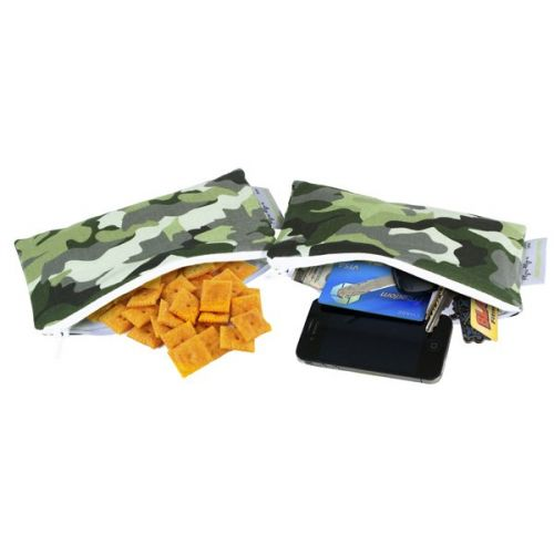 Itzy Ritzy Mini Snack Happens - Mini Snack Bag Set - Wrap Free School Lunches - Camo