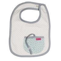 Love Henry Pocket Bib - Tribal Grey Retro with built in dummy saver strap