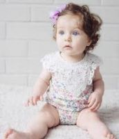 Love Henry Violet Lace Motif Romper - Cream Floral (000 to 2)