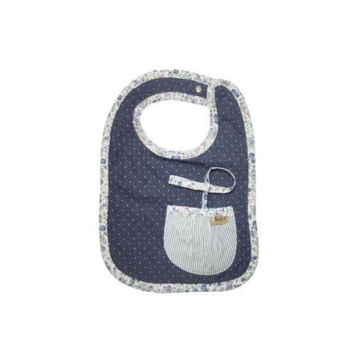 Love Henry Indigo Pocket Bib with built in dummy saver strap