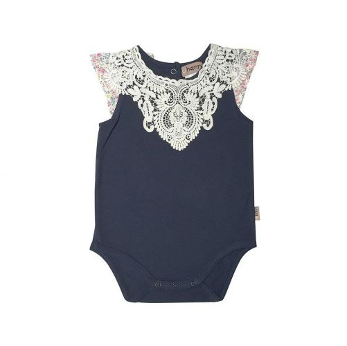 Love Henry Daisy Lace Collar Romper - Navy/ Floral (000 to 1)