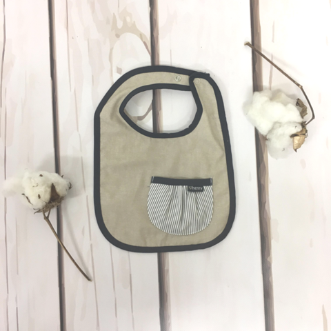 Love Henry Hamptons Pocket Bib - Linen