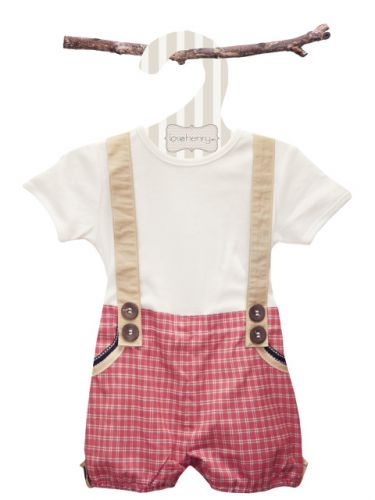 Love Henry Digby Boy Playsuit Red (only 000 left)