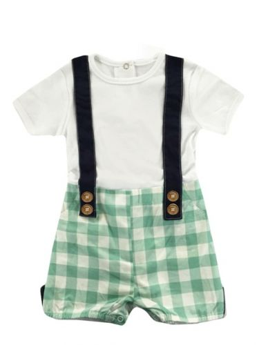 Love Henry Digby Boys Playsuit - Aqua/Light Green Check