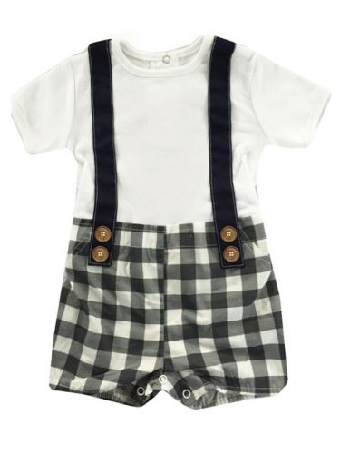 Love Henry Digby Boys Playsuit - Navy Check