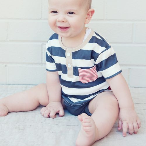Love Henry Grandpa Romper - White/ Navy