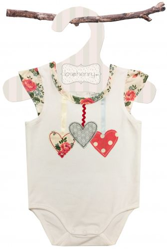 Love Henry Rose Hearts Romper (Sizes 00 to 2)