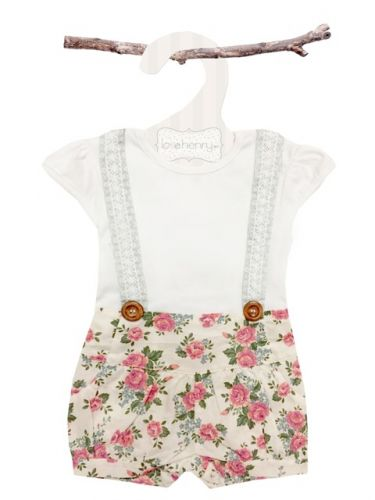 Love Henry Lola Suspenders Playsuit - Rose (only size 0 & 1 left)