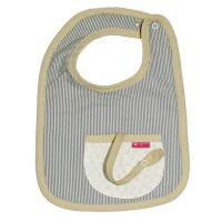 Love Henry Pocket Bib - Tribal Navy Stripe with built in dummy saver strap