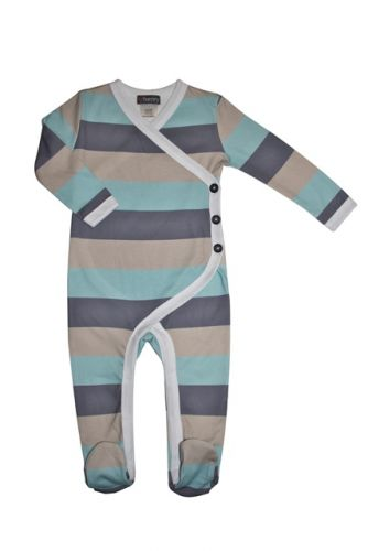 Love Henry Winter Onesie - Austin Aqua Stripe