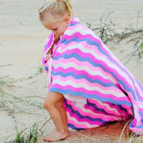 O.B. Designs Pink Galah Ripple Crochet Baby Blanket