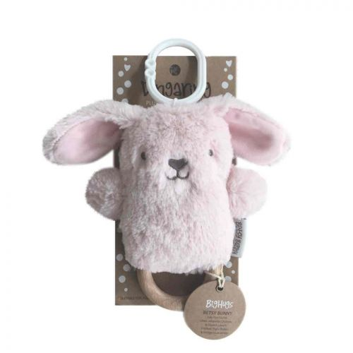 NEW Betsy the Pink Bunny Dingaring Teething Toy Rattle