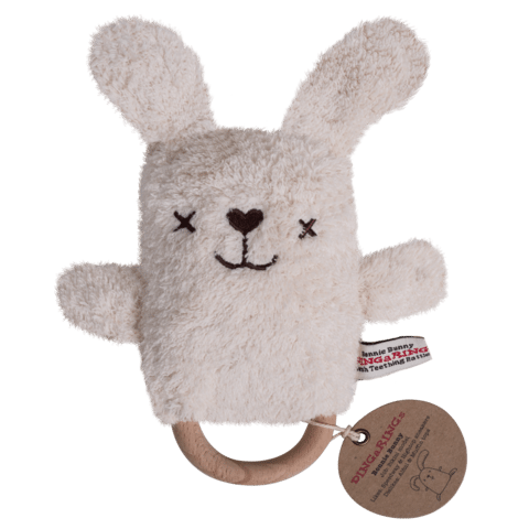 RETIRED Betsy the Bunny Dingaring Teething Toy Rattle - Cream