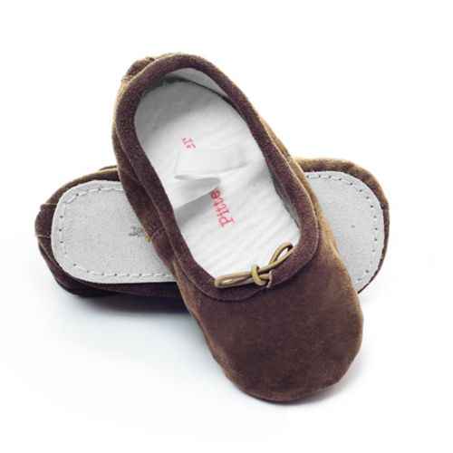 Pitter Patter Soft Sole Baby/Toddler Ballet Shoes - Chocolate Suede (S, M, L, XL)