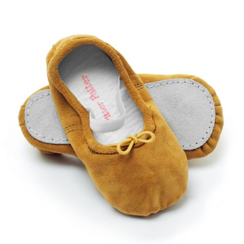 Pitter Patter Soft Sole Baby/Toddler Ballet Shoes - Caramel Suede (M, L, XL)