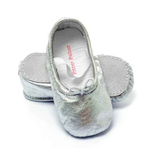 Pitter Patter Soft Sole Baby/Toddler Ballet Shoes - Moonshine Silver (S, XL)