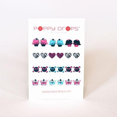 Poppy Drops Girls Rock Collection- Veggie Dye, Pierce Free Earrings
