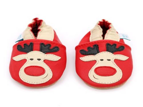 LAST PAIR 6-12m Rudolph the Red Nosed Reindeer Christmas Baby Shoes - Red