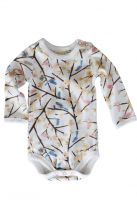Sapling-Organic Cotton Long Sleeve Bodysuit - Birds in Trees
