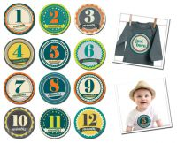 Sticky Bellies Badge Boys - Milestone Stickers 0-12 months