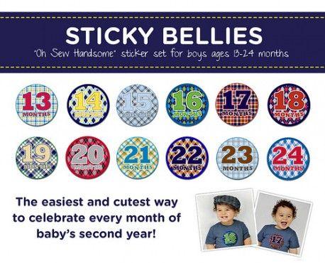 Sticky Bellies Oh Sew Handsome - Milestone Stickers 13-24months