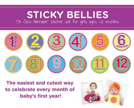 Sticky Bellies Oh Sew Adorable Girls - Milestone Stickers 0-12 months
