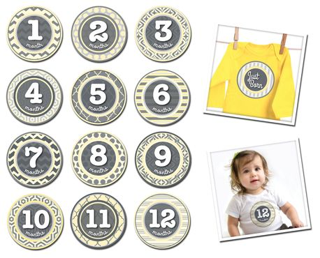 Sticky Bellies Patterned Peanut - Milestone Stickers 0-12 months