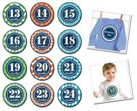 Sticky Bellies Patterned Prepster - Milestone Stickers 13-24 months