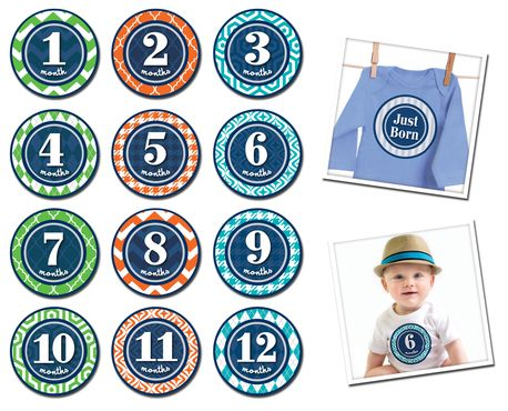 Sticky Bellies Patterned Prepster - Milestone Stickers 0-12 months