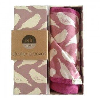 Zebi Baby Plum Bird Organic Stroller Blanket