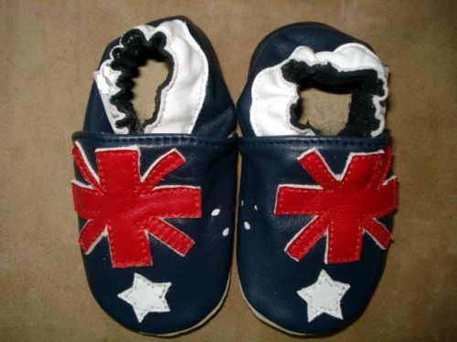 Aussie-Australian Flag Soft Sole Leather Baby Shoes - Australia Day