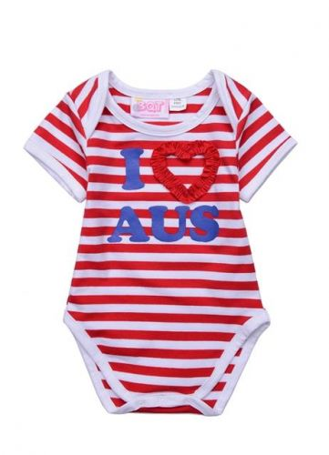 I Love Aus Red Striped Bodysuit  - Australian Baby Clothes