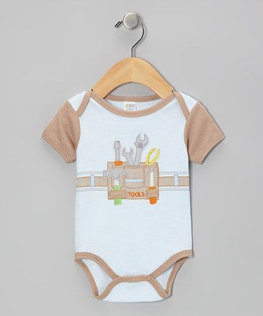 Builder - Tool Belt Short Sleeve Bodysuit/Onsie  - PaleBlue